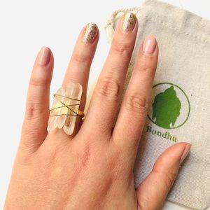 Raw Clear Crystal Quartz Shard Gold Statement Ring
